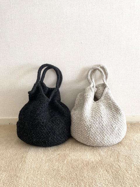 手編みのウールニットバッグ、販売のお知らせ